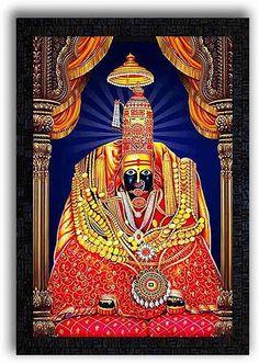 Poster N Frames UV Textured Decorative Art Print of Tulja Bhavani Tuljapur with Wooden Synthetic Frame Painting Size 14 x 20 inch Durga Painting, Lord Shiva Painting, Tanjore Painting, Gouache Painting, Shiva Parvati Images, Lakshmi Images, Shivaji Maharaj Hd Wallpaper, Navratri Images, Lord Shiva Pics
