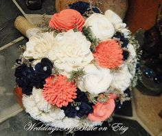 Weddings Coral Navy Bouquet Burlap Lace Sola by WeddingsByBillie