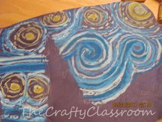 """Artist: Vincent Van Gogh   Project: Starry Night is one of Van Gogh's most famous works of art! Using glue, oil pastels (Crayola Oil Pastels are inexpensive and work well), black construction paper to create a cool version of """"Starry Night""""!"""