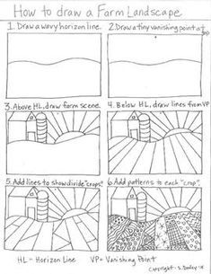 How to draw a Pattern Farm Landscape - Kunstunterricht Art 2nd Grade, Documents D'art, Landscape Art Lessons, Art Sub Plans, Classe D'art, Art Handouts, Perspective Art, One Point Perspective, Art Worksheets