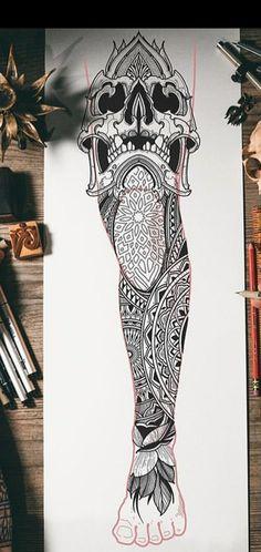 Skull Tattoo Design, Tattoo Design Drawings, Skull Tattoos, Tattoo Sketches, Body Art Tattoos, Knee Tattoo, Leg Sleeve Tattoo, Leg Tattoo Men, Tattoo Sleeve Designs