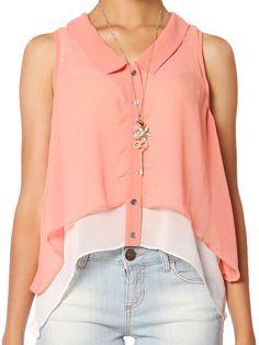 Papaya Clothing Online :: BUTTON UP LAYERED TOP US$20.99