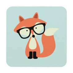 Cute Hipster Red Fox Coaster