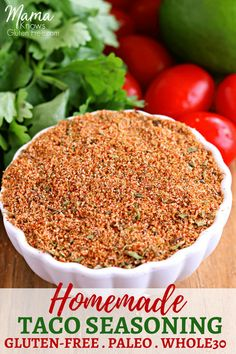 Easy homemade taco seasoning made straight from the spices in your pantry. Naturally gluten-free and perfect for those following the Paleo or Whole30  Diet. Recipe from www.mamaknowsglutenfree.com #glutenfree #paleo #whole30 #glutenfreerecipe #tacoseasoning #tacos