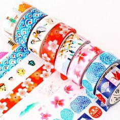 Japanese style washi tape with seigaiha, sakura, fujisan and sakura designs