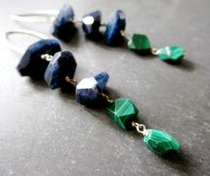 Blue Green LUXE Gemstone Earrings - Faceted Labradorite Malachite - Sterling Silver - Etsy Jewelry - catROCKS - Artisan - Fancy - Holiday