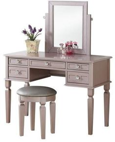 Bobkona Vanity Table With Stool Set In Rose Gold