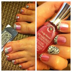 cute, easy, creative nail art. Just cut Sally Hansen nail effects strips into desired sizes & shapes & apply! :)