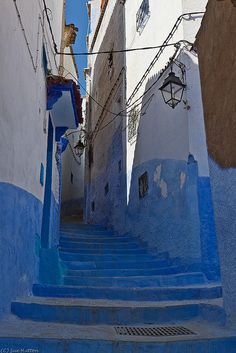 Blue painted steps