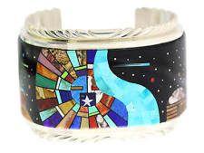 Calvin Desson, Bracelet, Navajo Storyteller, Yei, Monument Valley, Inlay