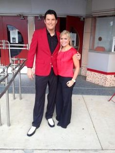 Allie Ware and Elvis at the Lyric in matching outfits.