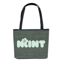 Mint Green Textured Dark Bucket Bag, editable monogram, rustic