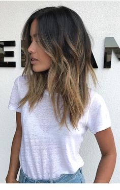 Ombre medium to long hair styles - ombre balayage hairstyles for women 2019 - pag. , medium to long hair styles - ombre balayage hairstyles for women 2019 - pag. medium to long hair styles - ombre balayage hairstyles for wo. Brown Hair Balayage, Hair Color Balayage, Balayage Highlights, Balayage Hair Brunette Medium, Highlights For Dark Brown Hair, Hair Styles Brunette, Dark Hair With Balayage, Sunkissed Hair Brunette, Dark Brunette Balayage Hair