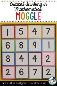 Let's play Moggle! This fun critical thinking challenge is a math boggle game where students create number sentences with connected numbers in a numerical puzzle. Raise the level of learning in your classroom as your kids build their computational fluency Math Boggle, Maths Guidés, Boggle Board, Math Board Games, Maths Puzzles, Boggle Game, Best Math Games, Year 2 Maths, Play Math Games