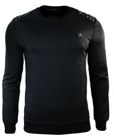 Mens Black Slim Fit Sweater Jumper Top Skull Stud Design Punk Rock. #jumper #clothing #menswear #style #fashion #shopping #mensstyle