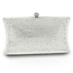 Bright Silver Pillow Swarovski Crystal Clutch Bag | Silver Evening Purse | Bridal Purse