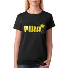 Nintendo Pokemon Pika T-Shirt Lady Fit ($9.61) ❤ liked on Polyvore featuring tops, t-shirts, black, women's clothing, vinyl top, vinyl t shirt, tee-shirt, vinyl shirt and t shirts