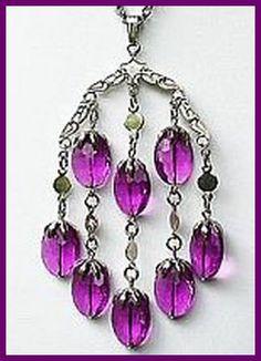 "Vintage Necklace Pendant Signed SARAH COV Purple Wisteria Big Silver Metal 26"" CIJ Sale. $18.50, via Etsy."