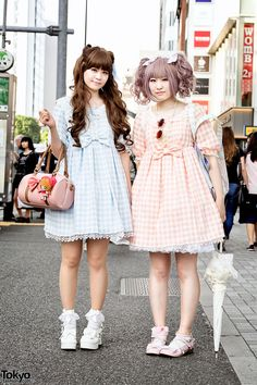 "tokyo-fashion: ""Mari and Yoshie on the street in Harajuku wearing gingham dresses by Angelic Pretty along with a Cardcaptor Sakura handbag and a BTSSB rabbit backpack. Full Looks "" Tokyo Fashion, Japanese Street Fashion, Harajuku Fashion, Kawaii Fashion, Lolita Fashion, Couture Fashion, Korean Fashion, Harajuku Style, Neko"