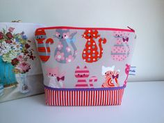 c167c4b6cf Cotton wash bag - toiletries bag - handmade - unique - funky cats - wipe  clean