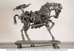 Bester was moved to create a series of three sculptures about the Trojan Horse Massacre with Trojan Horse III being the last and most powerful in the series. Unlike these earlier examples, which evoke the feel of African scrap metal toys, Trojan Horse III is characterized by an extraordinary sense of energy and vitality.