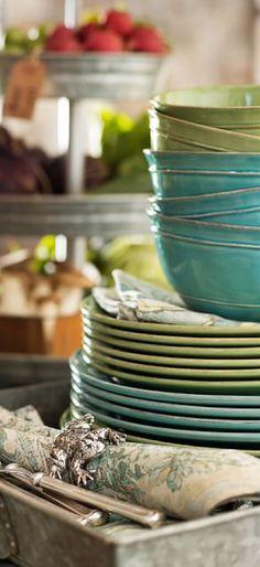 Rustic dinnerware in warm tones...♥♥...