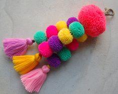 Luisa Tasselled Keychain Large Pom Pom Tassel by midgetgems