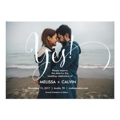she say yes Save the date calligraphy card v3 - wedding invitations cards custom invitation card design marriage party
