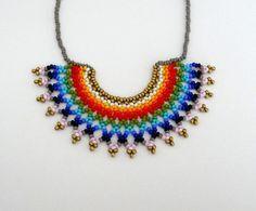 Peyote beaded Mexican RAINBOW HALF MOON Necklace by LucianaLavin