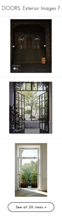"""""""DOORS: Exterior Images 🚪"""" by mermaiden ❤ liked on Polyvore featuring home, home decor, backgrounds, rooms, photos, pictures, windows, doors, red and photo"""