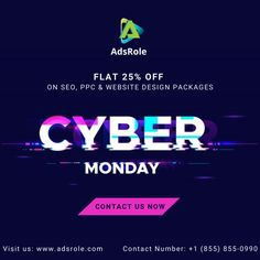 **CYBER MONDAY OFFER** Only For Today... Get FLAT 25% OFF on all our PACKAGES. Visit: www.adsrole.com or CALL: (855) 855-0990 #AdsRole #CyberMonday #SEO #NewSite #PPC Local Seo Services, Companies In Usa, Top Digital Marketing Companies, Social Media Marketing, Design Package, Cyber Monday Deals, News Sites, Free Quotes, Mobile Marketing