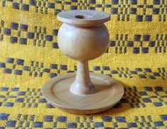 Vintage Natural Wood Candle Holder Swedish Design by OLaLaVintage