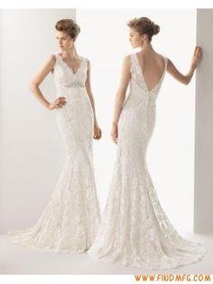 lindo sem mangas, com decote em V vestido de noiva sereia re...