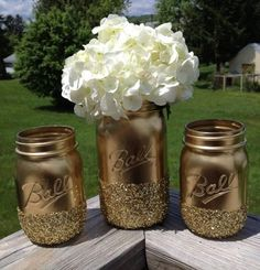 3 Shining shimmering gold Painted mason jars vase vintage centerpiece wedding decor ball kerr rustic wedding Glitter sparkling vintage jar
