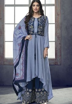 Light Blue Cotton Readymade Palazzo Suit With Jacket 157593 Kurta Designs Women, Kurti Neck Designs, Kurti Designs Party Wear, Blouse Designs, Dress Designs, Pakistani Suits, Pakistani Dresses, Indian Dresses, Indian Outfits