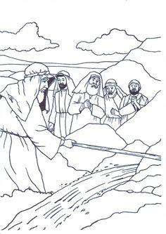 Mozes slaat met de stok op de rots