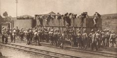 Once in South Africa the troops had to travel to the front. Here is a picture of British Troops boarding an amoured Troop Train. 1900