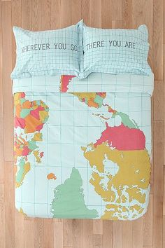 Also this. The other duvet is prettier, though :) Urban Outfitters Map Duvet Cover $89