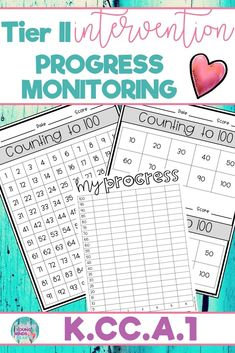 These Tier II Math intervention progress monitoring sheets allow you to progress monitor how your students are progressing toward mastery of the kindergarten standard K.CC.A.1; Counting to 100 by 1's and 10's. There are options for your students to keep track of their own progress and set goals. #mathintervention #tierIImath #tier2math #mathprogressmonitoring #progress monitoring