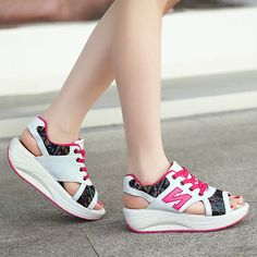 New-Summer-Womens-Flats-Lace-up-Breathable-Open-Toe-Wedge-Platform-Sandals-Shoes