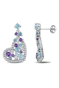 4.2 Ct White & Blue Topaz & Amethyst Earrings In Silver