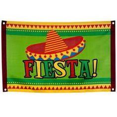Een gevelvlag in Mexicaanse stijl. Afmeting: 60 x 90cm. themafeesten mexicaans