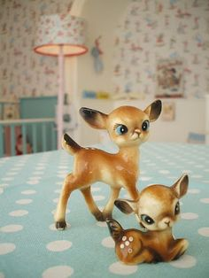 Deer statues, blue table cloth with polka dots, kids room