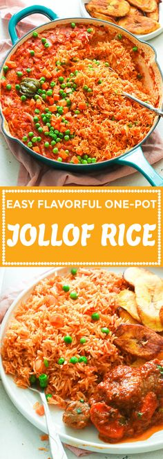 Easy, flavorful and perfectly cooked Jollof rice made completely in the in the oven, 5 min prep - no blending or stirring involve. Spicy Recipes, Mexican Food Recipes, Appetizer Recipes, Cooking Recipes, Ethnic Recipes, Spanish Recipes, African Recipes, Potato Recipes, Appetizers