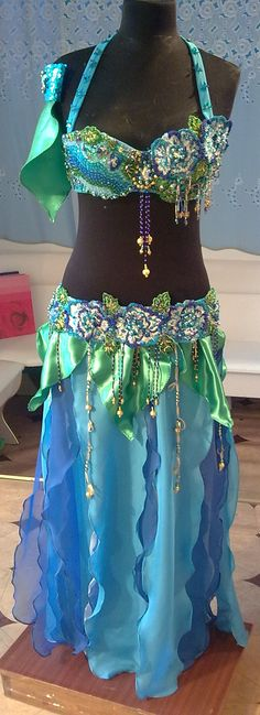 Belly dance costume Blue roses
