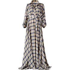 Maxi Plaid Dress | Moda Operandi (44.485 RUB) ❤ liked on Polyvore featuring dresses, gowns, long white dress, white wrap dress, tartan dress, white plaid dress and wrap dress