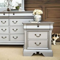 Beautiful bedroom furniture set painted with Pewter Metallic Paint by Modern Masters Antique Bedroom Furniture, Refurbished Furniture, Furniture Makeover, Painted Furniture, Mirrored Furniture, Furniture Styles, Modern Furniture, Furniture Design, Kitchen Furniture