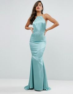 Jarlo High Neck Satin Maxi Dress with Lace Up Back | Occasion Bodycon Dresses