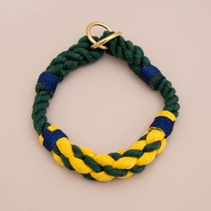 Cruiser Rope dog handmade training collar style - dog collar - Soft cotton rope collar -Green & yellow Hand made cotton rope collar - beautiful collar with the rope ends spliced then whipped with Lasso's original knots for durability.