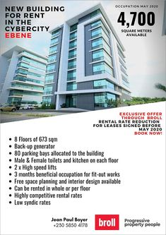 Broll Indian Ocean: New Building For Rent in The Cybercity Ebene - Exclusive Offer. Square Meter, Alter, Real Estate, Ocean, Park, Building, Real Estates, Buildings, Sea
